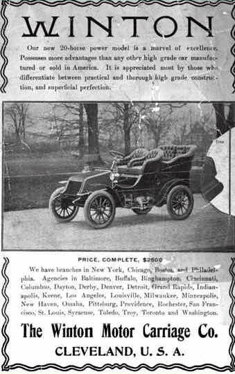 1903 Winton. An earlier model (1898) cost $1000. The 1904 model pricetag was $1500. Source: earlyamericanautomobiles.com