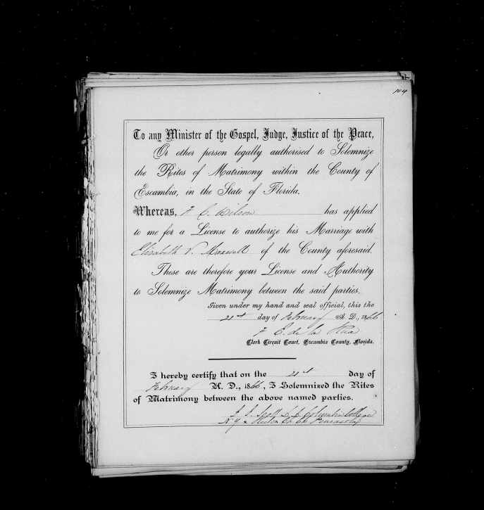 Dr. Frank and Elizabeth Wilson's marriage record.