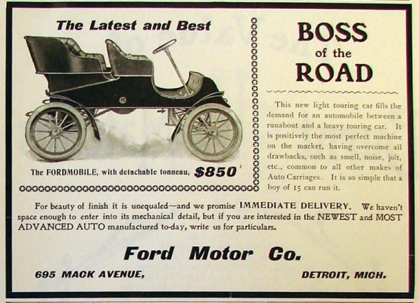 The Fordmobile of 1903, $850. Source: www.adbranch.com
