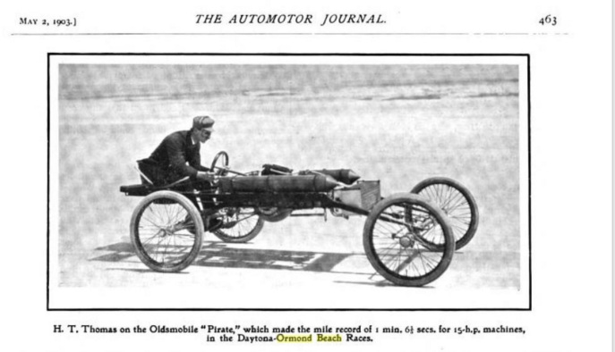 "H.T. Thomas driving the ""Pirate"" along Ormond Beach at the races, March 26-28, 1903. Emmett and his friends would have seen this. Source: The Automotor Journal. Google Books"