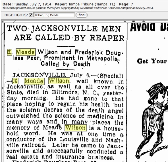 Tampa Tribune, July 6, 1914. Source: GenealogyBank.com