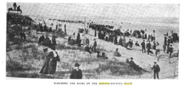 A snapshot of the races at the beach, from 1907. Source: The Motor Way magazine, from Google Books.