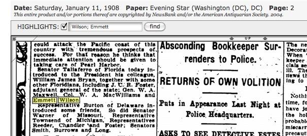 Emmett in Washington, D.C., in high-powered company. Source: Genealogybank.com