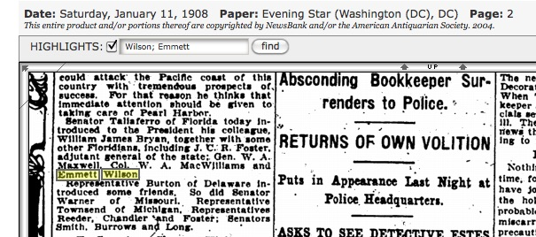 Emmett in Washington, D.C., in high-powered company. Source: Genealogybank.com