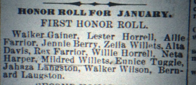 This was unusual, I thought: Walker, 19, is still in grade school as of January 1903. Source: The Chipley Banner, February 1903.