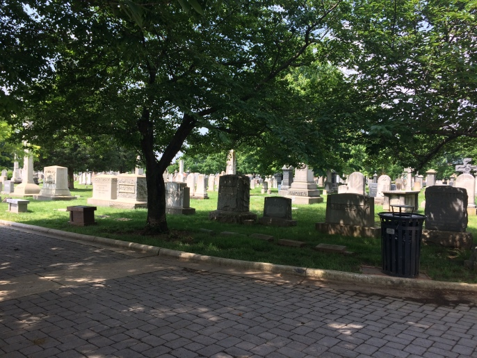 The cemetery is well cared for. People were walking about, tending plots; there is also a series of events held each month.