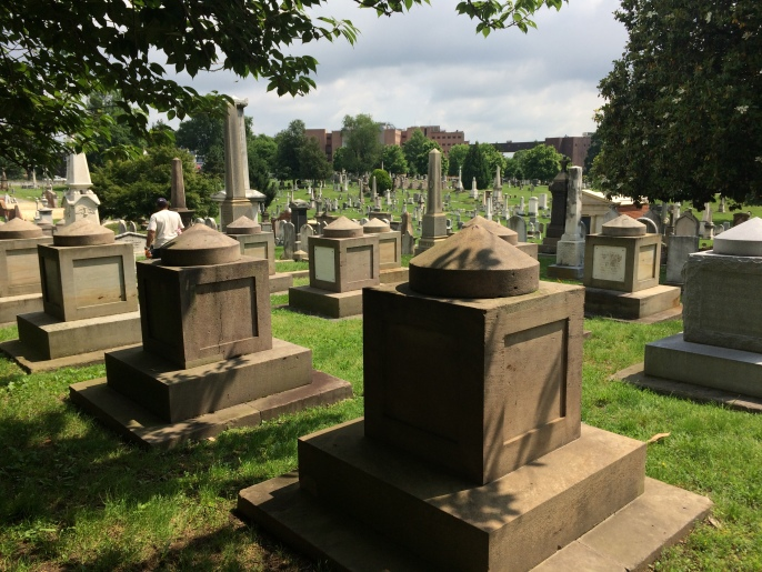 "Cenotaphs of lawmakers. Located appropriately on ""Congress Street"" in the cemetery."