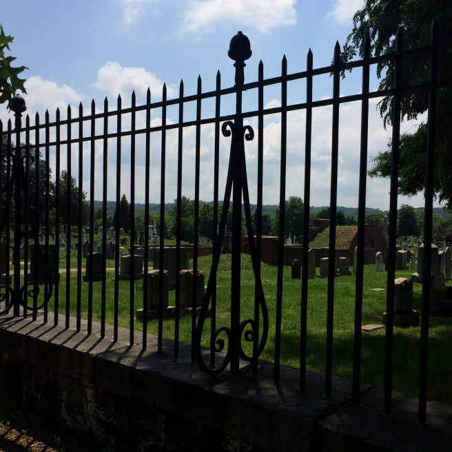 A view from outside the fence. The Cemetery covers 30 acres.