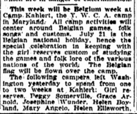 It's Belgium Week for the YWCA campers! Source: Washington, D.C. Evening Star, 1925
