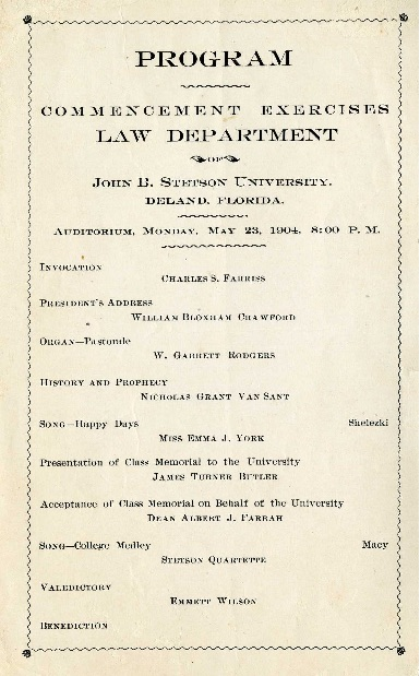 Emmett's law school commencement program. Source: Stetson University Archives