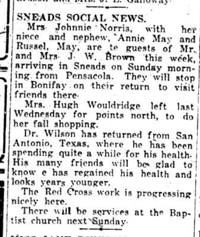 Percy had been spending time in San Antonio, in a sanitarium, for tuberculosis. Source: The Pensacola Journal, August 29, 1917.