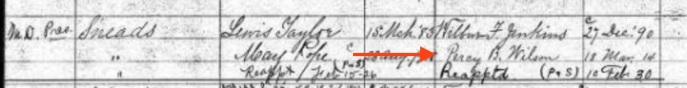 Percy was appointed Postmaster of Sneads, Florida, Marcy 18, 1914. Source: U.S. Appointments of Postmasters, 1832-1971, via Ancestry.com