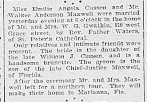 Wedding announcement from The Richmond Dispatch, January 15, 1902. There must be an error in the reporting, as Judge Augustus E. Maxwell's actual death was in 1903. Source: Virginia Herald archives.