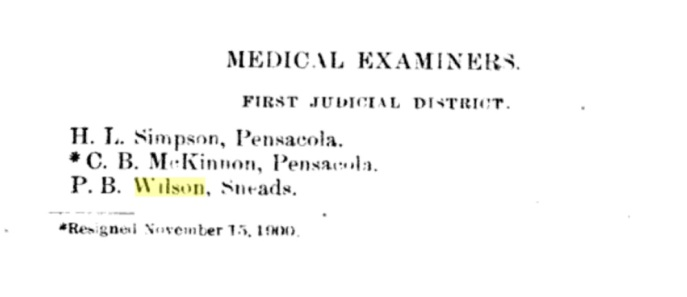Percy was named State Medical Examiner for the Florida first judicial district in 1901. Source: 1901 Florida Secretary of State's Report.