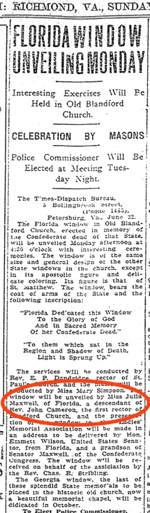 The unveiling of the Florida window at Blandsford Church. Source: The Richmond Times-Dispatch, June 23, 1912.