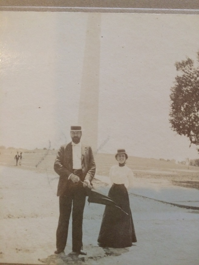 Walker and his sister Katie Wilson Meade, in front of the Washington Monument, July 4, 1908. Photo was taken by their first cousin, Lizzie Meade.