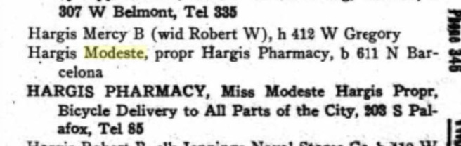 Pensacola City Directory for 1916. Modeste's pharmacy delivered, too! Source: Ancestry.com