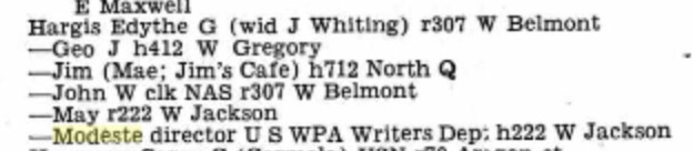 By 1942, Modeste was out of retirement and the director of the WPA Writer's Department in Pensacola. From the 1942 Pensacola City Directory. Source: Ancestry.com