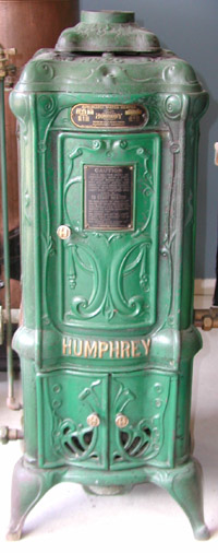 The Humphrey hot water heater. This model is from 1920. Source: waterheaterrescue.com