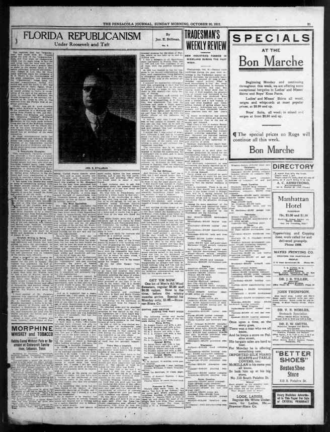 A large article featuring Joe Lee by John Stillman, local Pensacola Republican, on Joe Lee. Source: The Pensacola Journal, October 20, 1912