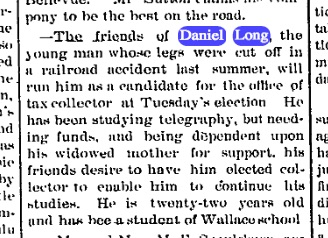 One year after his losing both of his legs, he's doing what he can to find gainful employment. Not a slacker. Source: The Sterling Gazette, March 29, 1890.