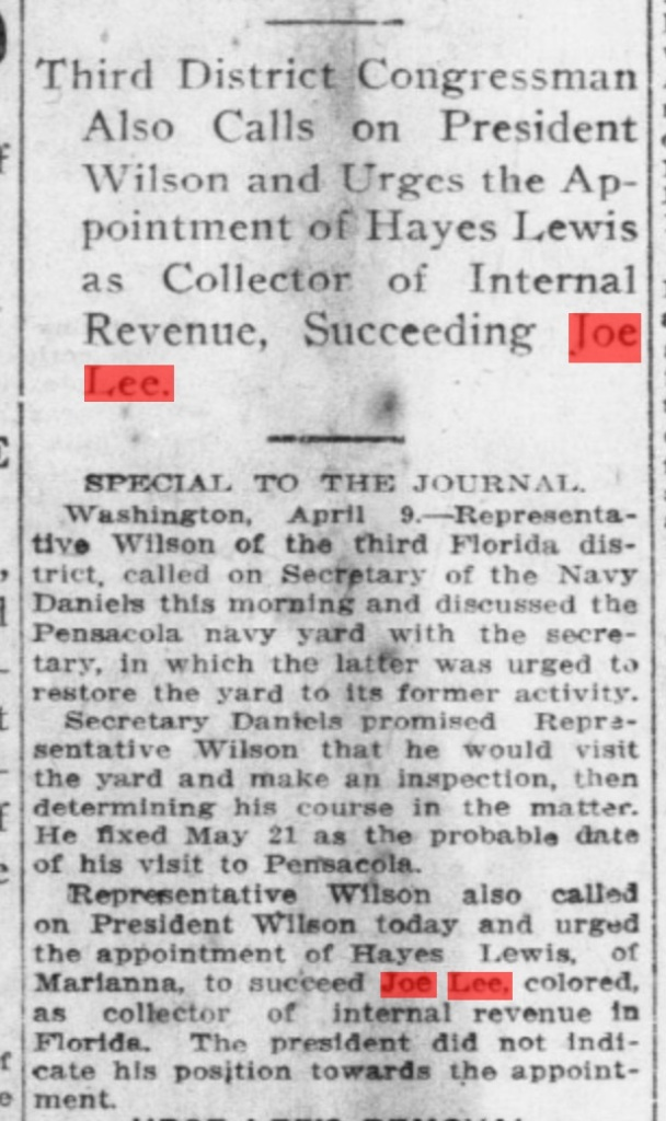 Emmett calls on President Woodrow Wilson literally within hours of being sworn in, to do the bidding of the part bosses. Source: The Pensacola Journal, April 10, 1913, page 1.