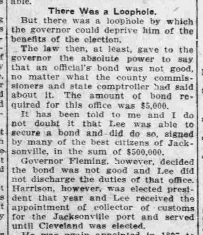 A snippet of the large article, with Stillman explaining Joe Lee's appointment as internal revenue collector. Source: The Pensacola Journal, October 20, 1912.