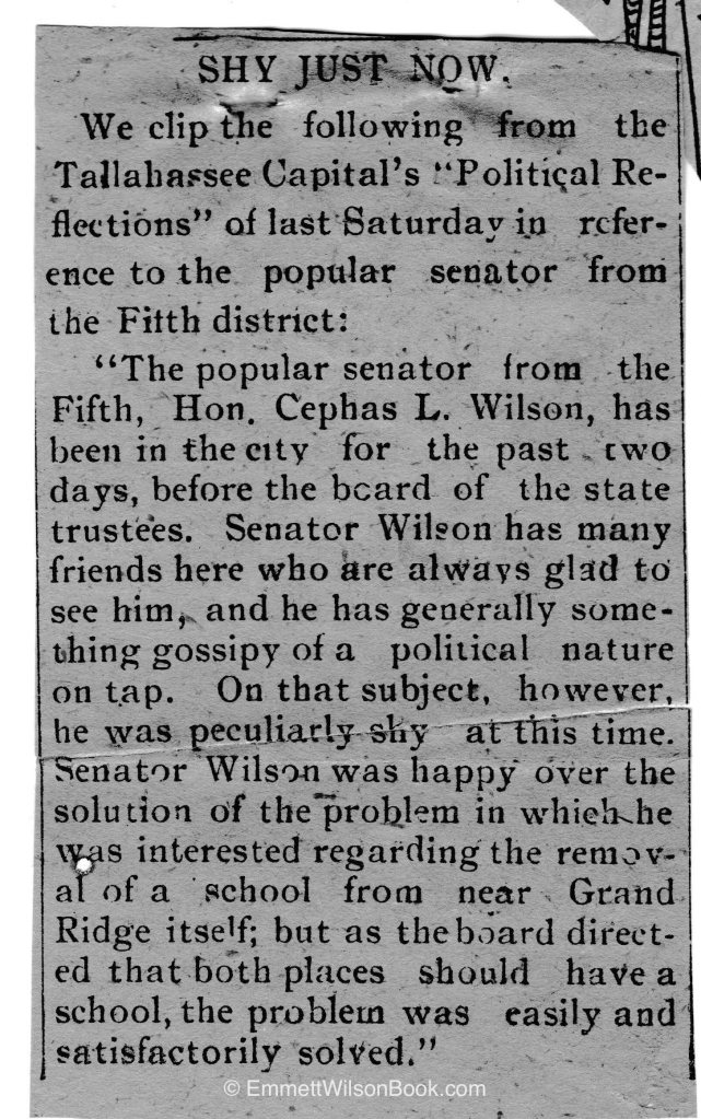 The clip was a reprint in another Florida state paper; the type does not look like the style used by the Marianna Times-Union between 1900-1918 (based on my reading of all available hard copy). I'd estimate the date of this article around 1902, based on the issue in the article.