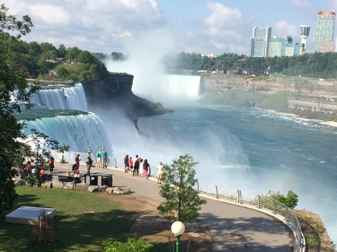 Atop the walkway access to the falls. Horseshoe Falls at the top of the photo, American Falls on the left.