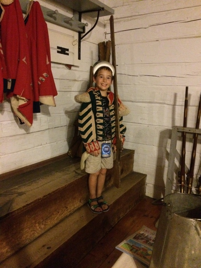 My son dressed up as one of King George's soldiers. This was a great hands-on, educational visit for kids of all ages.