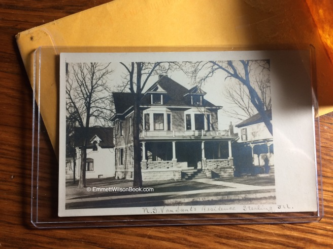 A photo postcard of Nicholas Van Sant's house in Sterling, Illinois. No date, but I estimate this to be around 1920.