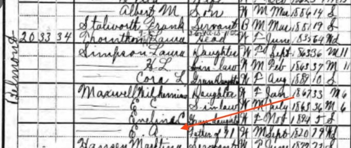"Here's the census of 1900 showing that Emmett's grandfather (who went by 'Emmett'; hence the ""E.A."" in the list) was living with his son and daughter-in-law on Belmont Street in Pensacola. Source: U.S. Census, 1900"