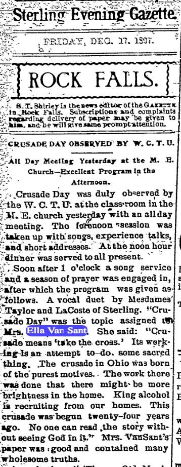 The crusading Ella Van Sant. Source: The Sterling Gazette, 1907
