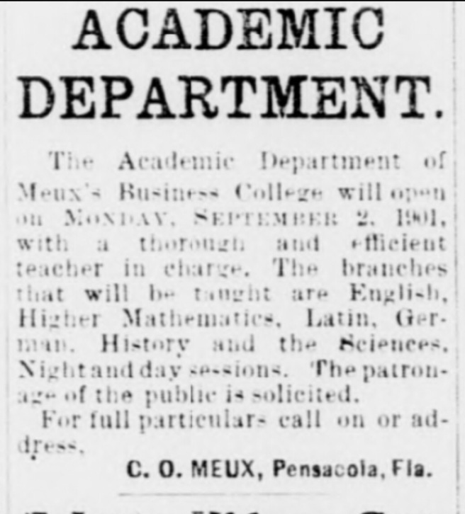 Advertisement from August 30, 1901 edition of The (Pensacola) Daily News. Emmett had been clerking for Judge D.J. Jones, during this time -- but he could only do so much without knowledge of shorthand. It is likely Jones recommended Emmett obtain shorthand training. Emmett was visiting family during the summer of 1901, and this advertisement got his attention. Source: The (Pensacola) Daily News, August 30, 1901.
