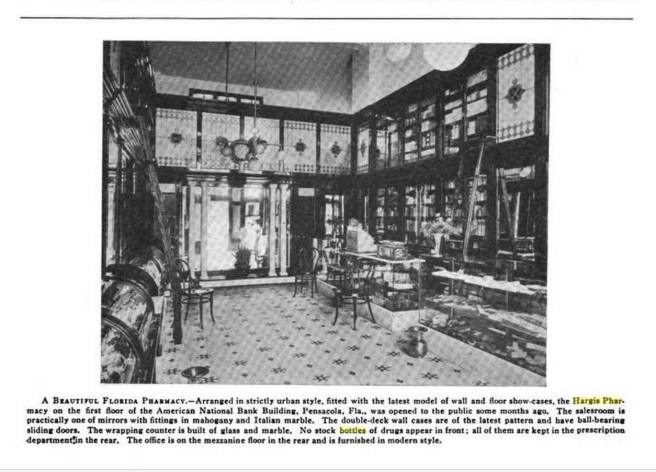The Hargis Pharmacy, brand new, located in the brand new American National Bank Building. Note the multiple brass spittoons on the floor. Source: The Bulletin of Pharmacy, Volume 24, published by E.G. Swift, 1910, page 131.