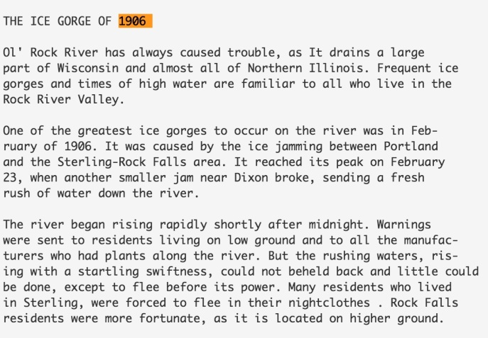 Details on the Ice Gorge of 1906. Source: Historical Centennial Program, Rock Falls, Illinois
