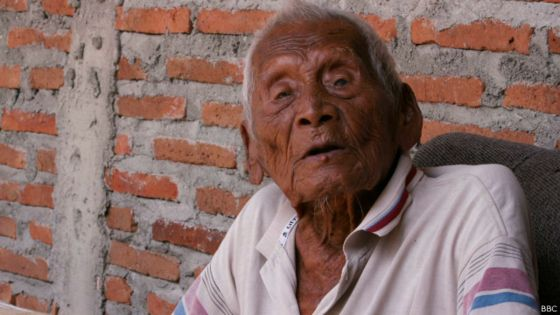 Mbah Gotho of Indonesia, allegedly the oldest man living. Born 12 years before Emmett. Source: www.bbc.com