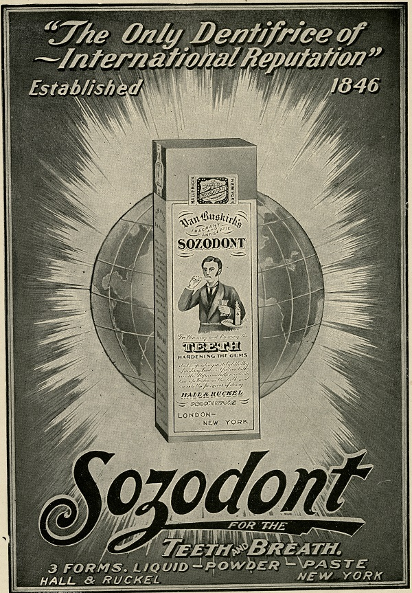Sozodont had 37% alcohol. Source: NMAH Archives Center 0060 Warshaw Collection of Business Americana Series: Dentistry Box 2 Folder 16 Advertisement for Sozodont