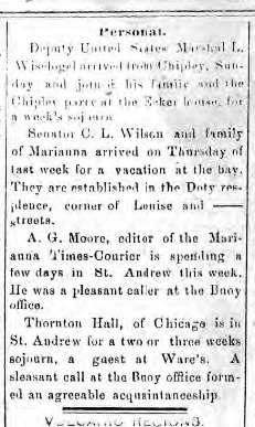 St. Andrew's Buoy, August 21, 1902 -- Cephas and family renting a cottage. This was routine for Cephas and other Wilson family members.