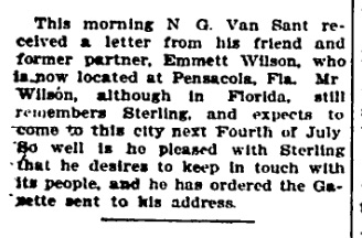 The Sterling Evening Gazette, 1908, editorial page.