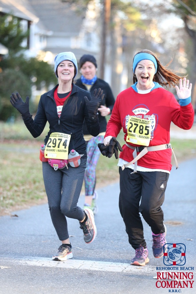 At the halfway point at the Rehoboth Beach Half Marathon. It was freezing, but at 6 miles, I was entirely overdressed.